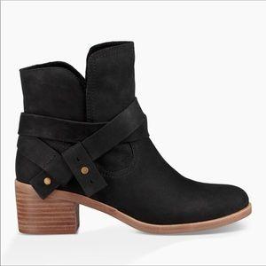 Ugg Elora low heel suede Moto ankle boot bootie